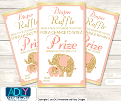 Peach Elephant Diaper Raffle Printable Tickets for Baby Shower, Gold, Coral