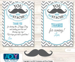 Man  Mustache  Thank you Cards for a Baby Man Shower or Birthday DIY Grey, Turquoise