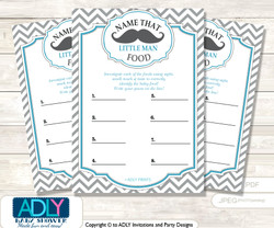 Man Mustache  Guess Baby Food Game or Name That Baby Food Game for a Baby Shower, Grey Turquoise