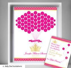 Hot Pink Princess Guest Book Alternative for a Baby Shower, Creative Nursery Wall Art Gift, Royal, Fuchsia