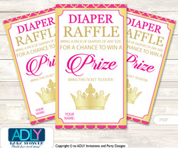 Hot Pink Princess Diaper Raffle Printable Tickets for Baby Shower, Royal, Fuchsia