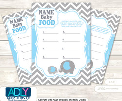 Grey Blue Elephant Guess Baby Food Game or Name That Baby Food Game for a Baby Shower, Boy Chevron