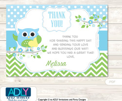 Boy Owl Thank you Printable Card with Name Personalization for Baby Shower or Birthday Party