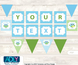 Personalized Boy Owl Printable Banner for Baby Shower, Spring, Blossom