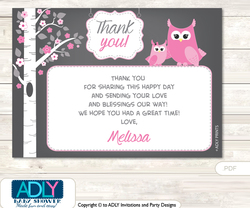 Girl Owl Thank you Printable Card with Name Personalization for Baby Shower or Birthday Party