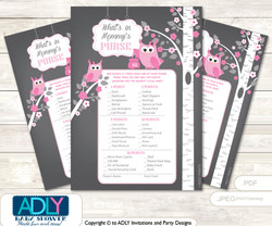 Girl Owl What is in Mommy's Purse, Baby Shower Purse Game Printable Card , Forest,  Spring