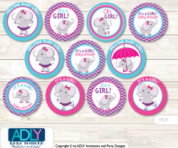 Baby Shower Purple Elephant Cupcake Toppers Printable File for Little Purple and Mommy-to-be, favor tags, circle toppers, Pink, Turquoise