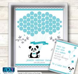 Boy Panda Guest Book Alternative for a Baby Shower, Creative Nursery Wall Art Gift, Teal Grey, Chevron