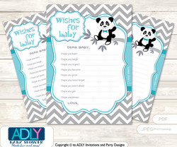 Boy Panda Wishes for a Baby, Well Wishes for a Little Panda Printable Card, Chevron, Teal Grey
