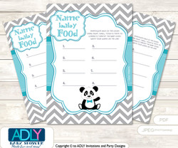 Boy Panda Guess Baby Food Game or Name That Baby Food Game for a Baby Shower, Teal Grey Chevron