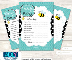 Neutral Bee Wishes for a Baby, Well Wishes for a Little Bee Printable Card, Turquoise, Black