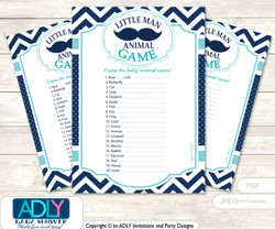 Printable Mustache Beau Baby Animal Game, Guess Names of Baby Animals Printable for Baby Beau Shower, Teal Blue, Chevron