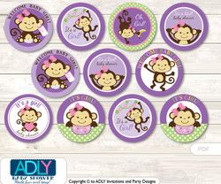 Baby Shower Purple Monkey Cupcake Toppers Printable File for Little Purple and Mommy-to-be, favor tags, circle toppers, Jungle, Pink