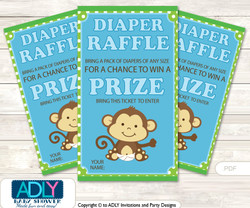 Boy Monkey Diaper Raffle Printable Tickets for Baby Shower, Blue Green, Jungle