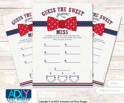 Man Bow Tie Dirty Diaper Game or Guess Sweet Mess Game for a Baby Shower Blue, Red Navy