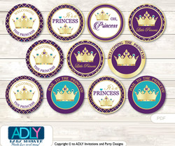 Baby Shower Royal Princess Cupcake Toppers Printable File for Little Royal and Mommy-to-be, favor tags, circle toppers, Purple, Gold Teal