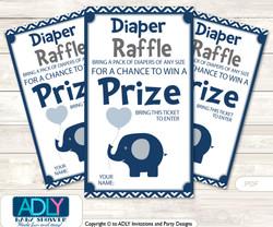 Boy Peanut Diaper Raffle Printable Tickets for Baby Shower, Blue Grey, Chevron