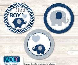 Printable  Boy Peanut Candy Kisses for Baby Boy Shower DIY Blue Grey , Chevron