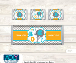 Boy Peanut Chocolate Bar Wrapper and Nuggets Candy Wrapper Label for Baby Boy Shower  Teal Orange , Chevron