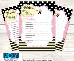 Pink Bumble Bee Wishes for a Baby, Well Wishes for a Little Bumble Bee Printable Card, Yellow, Babee