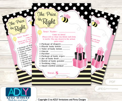 Printable Pink Bumble Bee Price is Right Game Card for Baby Bumble Bee Shower, Babee, Yellow
