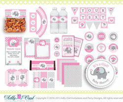 Pink Elephant Baby Girl Shower Printable Party Kit with girl baby elephant, chevron, polka, pink, grey- ONLY digital file - ao46