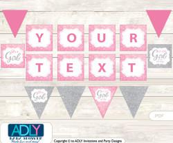 Personalized Bokeh Girl Printable Banner for Baby Shower, Pink Gray, Glitter