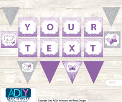 Personalized Purple Butterfly Printable Banner for Baby Shower, Gray, Bokeh