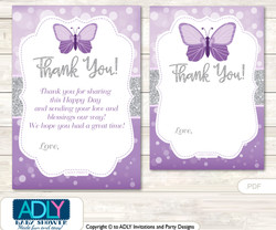 Purple  Butterfly Thank you Cards for a Baby Purple Shower or Birthday DIY Gray, Bokeh