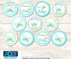 Baby Shower Neutral Butterfly Cupcake Toppers Printable File for Little Neutral and Mommy-to-be, favor tags, circle toppers, Aqua, Turquoise