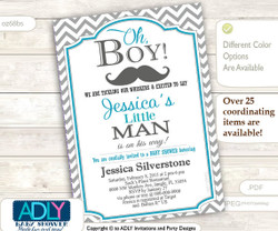 Grey Turquoise Mustache Man Invitation for a Little Man Baby Shower in Chevron, Teal and Grey colors. A sweet Little Man on his way