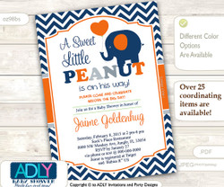 Blue Orange Gray Elephant Invitation for Boy Baby Shower in Dark Blue Chevron, grey. A sweet Little Peanut is on his way