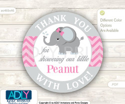 Grey Pink Elephant Thank You Circle Tag. Thank you for showering our Peanut with love.