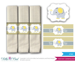 Yellow Gray Elephant Napkin Rings Label, Wrappers Printable for Baby Boy or Girl Shower or Birthday DIY grey, yellow chevron -