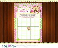 Pink Girl Monkey Bingo Game Printable Card for Baby Boy Shower DIY  - ONLY digital file - you print