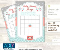 Printable Aqua Owl Bingo Game Printable Card for Baby Coral Shower DIY grey, Aqua, Grey