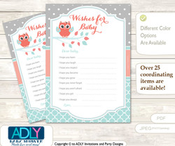 Coral Owl Wishes for a Baby, Well Wishes for a Little Owl Printable Card, Grey, Aqua