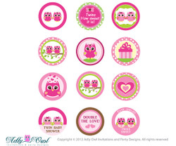 Pink  or Purple Twin Girl Owl Baby Shower Cupcake Toppers or Favor Tags Printables DIY,  twin owl tags - ONLY digital file - you print