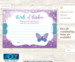 Bokeh Purple Butterfly Words of Wisdom or an Advice Printable Card for Baby Shower, Turquoise