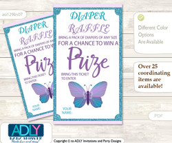 Purple Butterfly Diaper Raffle Printable Tickets for Baby Shower, Bokeh, Turquoise
