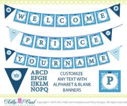 Super Welcome Prince and Name Banner Baby Shower Printable DIY blue, castle, crown,BOY shower - ONLY digital file - you print SKU41
