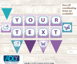 Personalized Purple Butterfly Printable Banner for Baby Shower, Bokeh, Turquoise