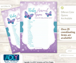 Printable Purple Butterfly Baby Animal Game, Guess Names of Baby Animals Printable for Baby Butterfly Shower, Bokeh, Turquoise