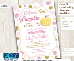 Pumpkin Girl Pink and Gold Invitation for Baby Shower, Pumpkin girl shower, halloween baby shower, glitter