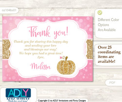 Girl Pumpkin Thank you Printable Card with Name Personalization for Baby Shower or Birthday Party