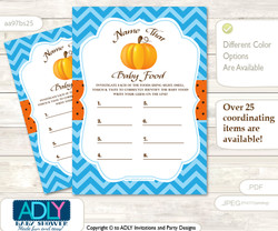 Boy Pumpkin Guess Baby Food Game or Name That Baby Food Game for a Baby Shower, Blue Orange Chevron