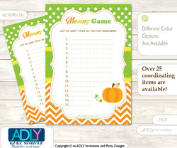 Neutral Pumpkin Memory Game Card for Baby Shower, Printable Guess Card, Green Orange, Chevron