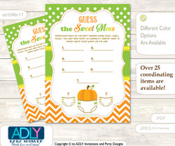 Neutral Pumpkin Dirty Diaper Game or Guess Sweet Mess Game for a Baby Shower Green Orange, Chevron