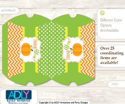Printable  Neutral Pumpkin Candy Kisses for Baby Neutral Shower DIY Green Orange , Chevron  Neutral Pumpkin Pillow Box for Candy, Little Treats or Small Gift of any Baby Shower or Birthday, Green Orange , Chevron