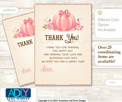 Girl  Pumpkin Thank you Cards for a Baby Girl Shower or Birthday DIY Pink, Glitter